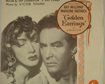 Golden Earrings 1946 Sheet Music Vintage Marlene Dietrich Ray Milland Victor Young Paramount