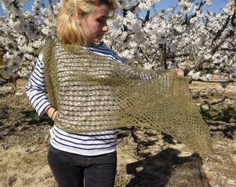 Crochet mohair and silk scarf