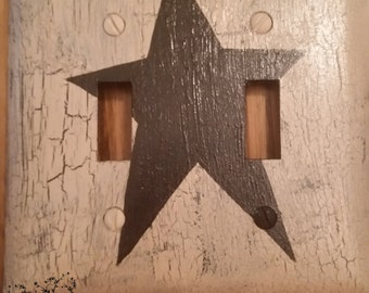 Primitive STAR Light Double Switch Plate Cover black- ivory country rustic western handpainted
