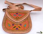 Embroidered handmade Indian leather bag- vintage looking - goat leather