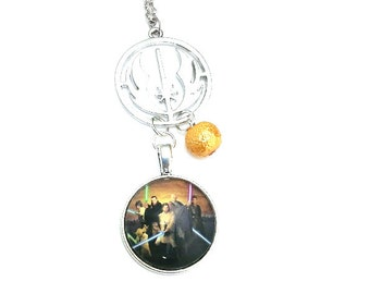 "Jedi Symbol Star Wars Inspired Beaded Glass Dome Cabochon Charm 20"" Chain Necklace Silver Tone"