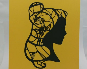 "Belle Beauty and the Beast Inspired Cut Paper Silhouette Portrait 8"" x 10"" Cut Out Art Portraits"