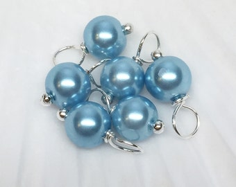 Pearl dangle beads, Blue beads, glass pearl dangle beads, blue dangle charms, bracelet charms, pearl dangles, bead charms,6mm dangle beads