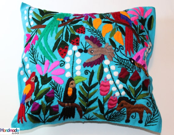 Hand Embroidered Aqua Cushion cover / Pillow Cover / Mexican