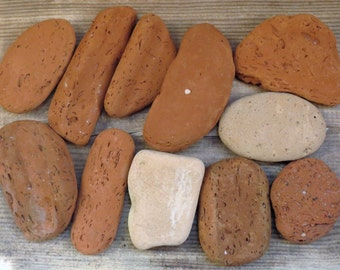 12 pcs big sea bricks Sea pottery Terracotta Pottery pieces Beach pottery scraps Broken pottery Beach clay Sea mosaic Natural sea finds