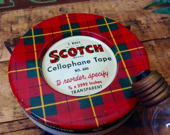 Vintage Scotch Tape Tin - Trinkets Dish - Cellophane Tape - Patent Pending Piece Collectible - Office Supply