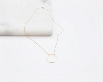 Hexagon necklace // open shape necklace // geometric necklace // gold necklace