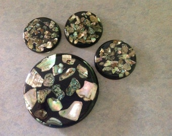 Vintage Abalone Shell Trivet and Coasters