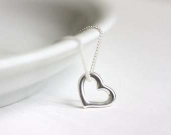 Delicate Heart Necklace, Sterling Silver Jewelry, Tiny Charm