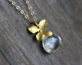 Clear Quartz Necklace, Gold Filled Chain, Rock Crystal, Flower Jewelry