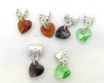 6 Assorted Color Euro Style Crystal Heart Dangle Charms (B111e1)