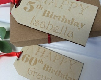 Personalised Birthday Gift Tag - Birthday Gift Tag - Giant Gift Tag - Oversized Wooden Gift Tag - Engraved Gift Tag - Gift Wrap