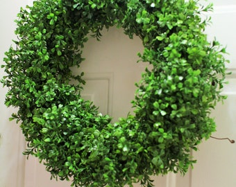 Faux boxwood wreath ,  spring wreath, artificial boxwood wreath , outdoor wreath ,Front door Wreath