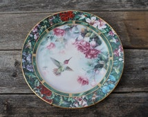 1992 W.F. George Anna's Hummingbird Collector Plate by Lena Liu Porcelain Decorative Wall Hanging Plate
