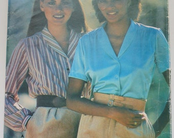 Butterick See & Sew 1980S Paper Sewing Pattern 6643 Misses' Blouse Size 14