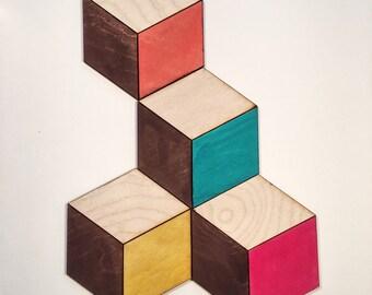 Geometric Coaster Set of 4, Cube Coasters