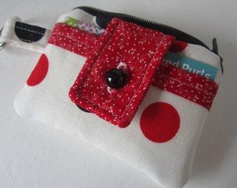 Tiny Wallet, Vintage Fabric Wallet, Credit Card Wallet, ID Keychain Wallet, Gift Cards Wallet, Polka Dot Wallet, Keychain Coin Purse, Wallet