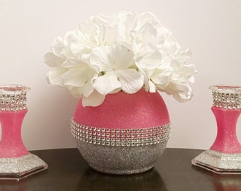 Bling Rhinestone Gliter Centerpieces (Set of 3) Vases And Candle Holders ,Wedding, Birthday,Baby Shower Quincenera Sweet 16