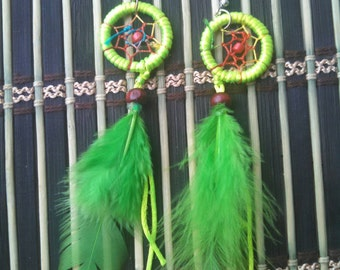 Dream catcher Neon green earrings