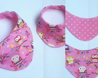 neckerchief Spucktuch baby owl pink