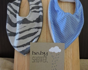 Baby shower gift set - baby bandana bibs with card