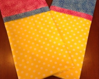 Yellow polka dot pillow case set, handmade, polka dot pillow case, blue, pink, yellow