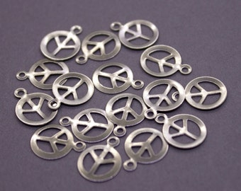 50 Brass Peace Sign Charms 14x10mm | Silver Peace Charms, Peace Sign Pendant, Silver Peace Sign, Peace Pendant, Silver Peace Pendant