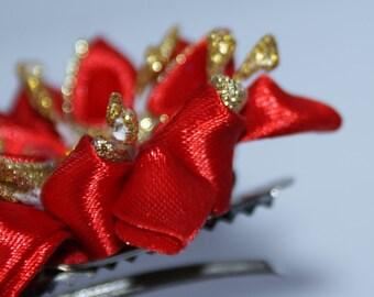 brooch, brooch with flower, brooch kanzashi, kanzashi, flower, red, kanzashi flower, gift, free shipping, hair pin