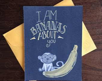 Monkey Card ∙ Valentine's Day Card ∙ Valentine's Card ∙ Valentine ∙ I'm Bananas About You ∙ Love Card ∙ I Love You Card ∙ Romantic Card