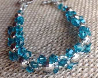 Teal Swarovski Crystal Bracelet with Toggle Clasp