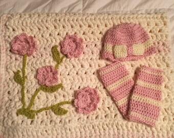 Crochet Baby Girl blanket and Hat/leg warmer set