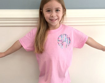 Lily Pulitzer Vinyl Monogram Shirt, Girls Monogram T-Shirt, Monogram T-Shirt, Girls Monogram Shirt, Toddler Monogram Shirt