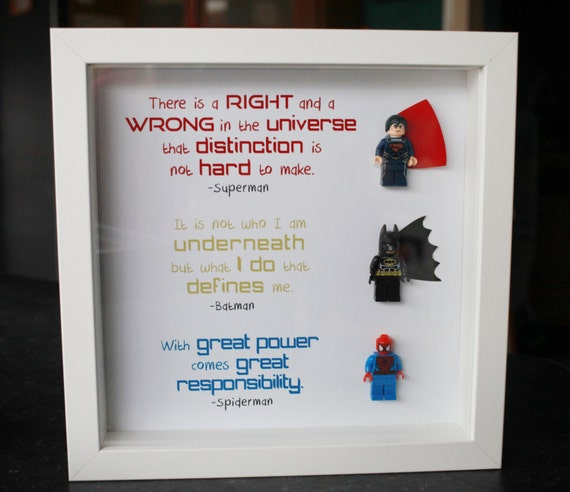 9x9 lego superhero frame batman spiderman superman boxframe birthday dad boys boyfriend geeky christmas birthday gift