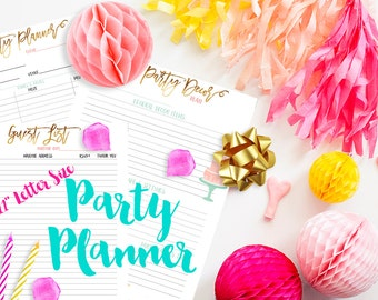 """8.5x11"""" Party Planner Printable Inserts for 3-Ring Binder or BIG Happy Planner Baby Shower Birthday Organizer PDF"""