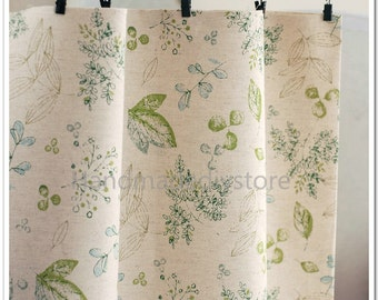 Linen Cotton Fabric, Cotton Linen Blend Leaves Fabric, Room Decoration Curtains, Sofa Covers Linen Fabric by Half Yard (JJ7)