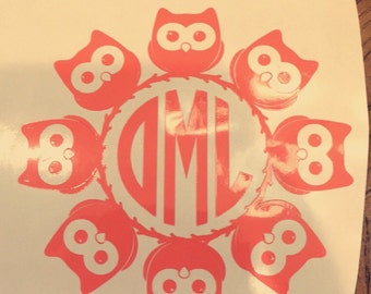 Owl monogram 4x4in yeti cup sticker