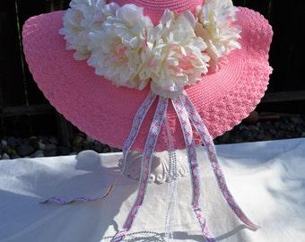 Pink Floral Spring Hat