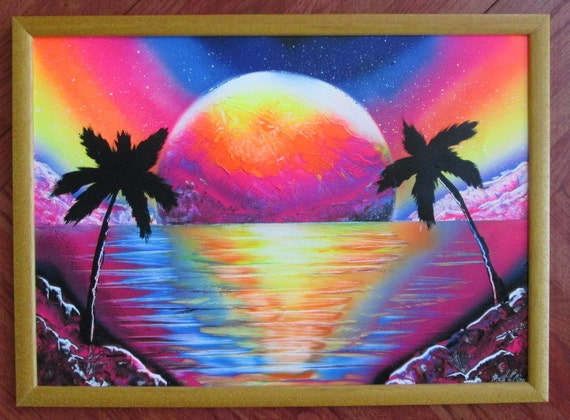 Items similar to pink neon beach spray paint art,pink home ...