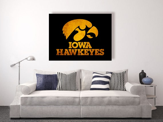 Iowa hawkeyes vintage style canvas print vintage football for Iowa hawkeye decor