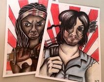Gift set of The Walking Dead postcard wall art