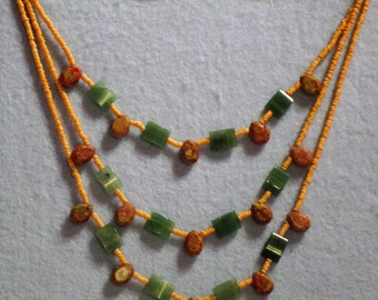 Handmade one of a kind Necklace with jade and brownish stones