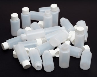 Brand New 1 Oz Empty Plastic White Bottles with Lined Screw Cap ( 24 PACK )