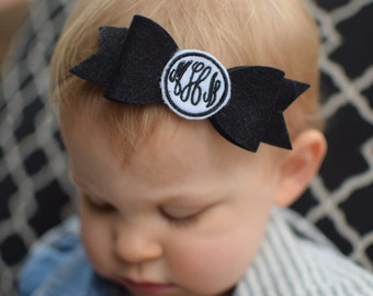 Monogrammed bow headband