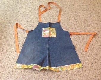 Blue Jean Apron with flowers and butterflies, adult apron, up cycled jeans
