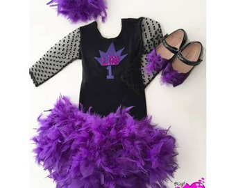 Goose Down Tutu and Tulle Blouse with Headband,Booties