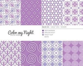 80% OFF SALE Digital Paper Violet 'Pack03' Scrapbook Papers Digital Backgrounds for Scrapbooking, Invitations, Decoupage, Crafts...