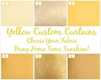 Yellow Custom Curtains: Free Shipping, Fully Lined, Six Styles, Handstitched - Mustard Curtains, Custom Size Curtains, Panels, Drapes