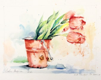 Original Watercolour - Delivery free 'tulips in a bucket' (flowers spring bouquet fresh nature color decoration kitchen)