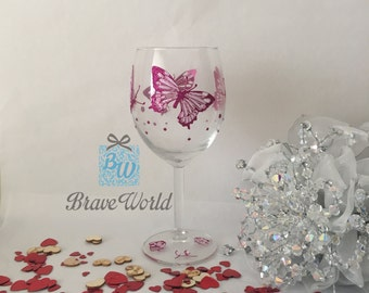 Hand Decorated Wine Glass Pink Butterflies, Butterflies, Wine Glass Gift, Pink Butterfly, Pink Wine Glass, Hens Party, Wine Glass Present