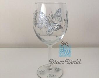 Hand Decorated, Wine Glass, Silver Butterflies, Butterflies